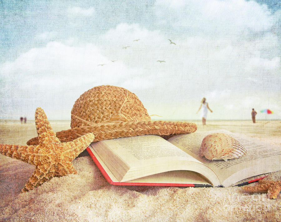 1-straw-hat-book-and-seashells-in-the-sand-sandra-cunningham1